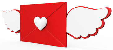 3d valentines day love letter with red heart Royalty Free Stock Images