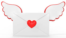 3d valentines day love letter with red heart Stock Photo