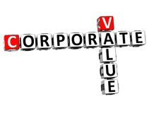 3D Value Corporate Crossword. On white background Stock Image