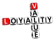 3D Value Loyalty Crossword Royalty Free Stock Images