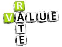 3D Value Rate Crossword Stock Photos