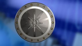 3d of valut door. 3d illustration of valut door over blue graph background Stock Photo