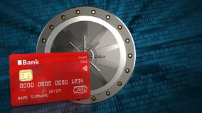 3d of valut door. 3d illustration of valut door over binary background with bank card Stock Photos