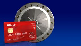 3d of valut door. 3d illustration of valut door over blue gradient background with bank card Stock Image