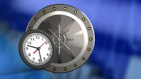 3d of valut door. 3d illustration of valut door over blue graph background with clock Stock Photos
