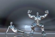 3D van de de levensstijlaffiche van Robot Super Meisjes sticker BG Stock Fotografie