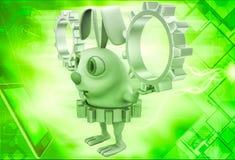 3d van de het toesteltandrad en holding van de konijnslijtage gouden zilveren tandraderen in handenillustratie Stock Foto's