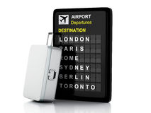 3d van de luchthavenraad en reis koffers op witte achtergrond Stock Foto