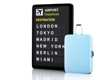 3d van de luchthavenraad en reis koffers op witte achtergrond Stock Afbeeldingen
