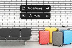3d van de Luchthavenvertrek en Aankomst informatieraad met reis s Stock Afbeelding