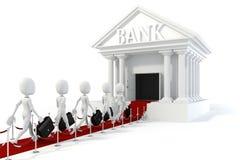 3d van de mensenzakenman en bank bouw Royalty-vrije Stock Afbeelding