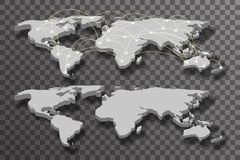 3d van de schaduw lichte verbindingen van de wereldkaart transparante vectorillustratie als achtergrond Stock Foto's