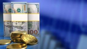 3d van dollarbankbiljetten Stock Foto's