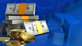 3d van dollarsstapel royalty-vrije illustratie