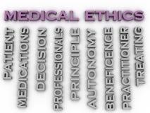 3d van het de kwestiesconcept van de beeld medische ethiek achtergrond van de het woordwolk Royalty-vrije Stock Foto