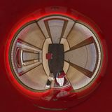 3d van het illustratie sferische 360 graden panorama van zaalhotel Stock Afbeeldingen