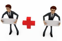 3d van het mensenraad en plusteken concept Stock Afbeelding