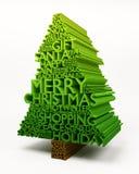 3D Van letters voorziende Kerstboom stock illustratie