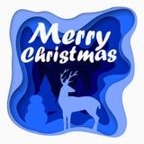 3d varvad vykort för glad jul för papper för snitt ut med träd, hjortar, stjärnor Vektormall, i att snida konststil Royaltyfri Bild