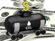 3D vat olie met dollars Stock Foto's