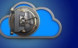 3d vault door cloud. 3d illustration of cloud with vault door over blue background Stock Photography