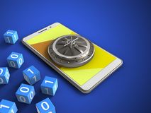 3d vault door. 3d illustration of white phone over blue background with binary cubes and vault door Stock Photography