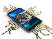 3d vault door. 3d illustration of mobile phone over white background with electronic circuit and vault door Stock Image