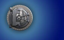 3d vault door vault door. 3d illustration of vault door  over blue background Stock Image