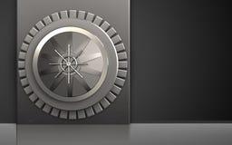 3d vault door metal box. 3d illustration of metal box with vault door over black background Royalty Free Stock Photos