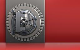 3d vault door metal box. 3d illustration of metal box with vault door over red background Stock Image