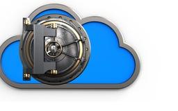 3d vault door safe. 3d illustration of cloud with vault door over white background Royalty Free Stock Photo