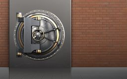3d vault door safe. 3d illustration of metal box with vault door over red bricks background Stock Image