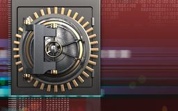 3d vault door safe. 3d illustration of metal safe with vault door over digital red background Stock Photos