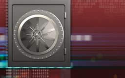 3d vault door safe. 3d illustration of metal safe with vault door over digital red background Royalty Free Stock Photo