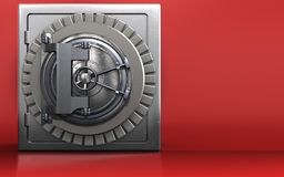 3d vault door safe. 3d illustration of metal safe with vault door over red background Stock Photography