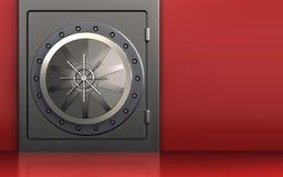 3d vault door safe. 3d illustration of metal safe with vault door over red background Stock Photos
