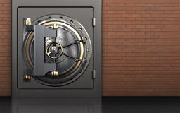 3d vault door safe. 3d illustration of metal safe with vault door over red bricks background Stock Image