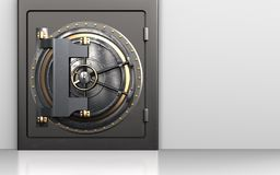 3d vault door safe. 3d illustration of metal safe with vault door over white background Stock Images