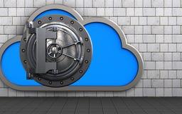 3d vault door vault door. 3d illustration of cloud with vault door over white stones background Stock Images