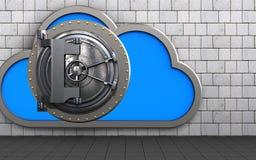 3d vault door vault door. 3d illustration of cloud with vault door over white stones background Stock Photo