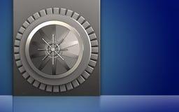 3d vault door vault door. 3d illustration of metal box with vault door over blue background Stock Photos