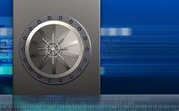 3d vault door vault door. 3d illustration of metal box with vault door over cyber background Royalty Free Stock Photo