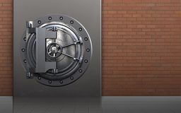 3d vault door vault door. 3d illustration of metal box with vault door over red bricks background Royalty Free Stock Images