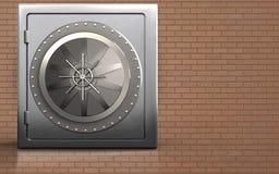 3d vault door vault door. 3d illustration of metal safe with vault door over bricks wall background Royalty Free Stock Photo