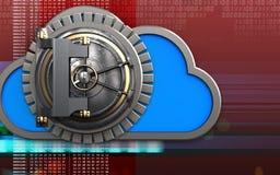 3d vault door vault door. 3d illustration of cloud with vault door over digital red background Royalty Free Stock Photos