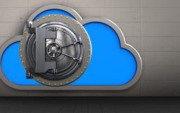3d vault door vault door. 3d illustration of cloud with vault door over iron wall background Stock Image