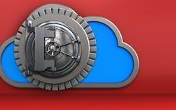 3d vault door vault door. 3d illustration of cloud with vault door over red background Royalty Free Stock Image