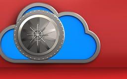 3d vault door vault door. 3d illustration of cloud with vault door over red background Royalty Free Stock Images
