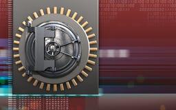 3d vault door vault door. 3d illustration of metal box with vault door over digital red background Stock Image