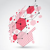 3d vector abstract background created in Bauhaus retro style.. Modern geometric composition can be used as templates and layouts. Engineering technological red Stock Photo